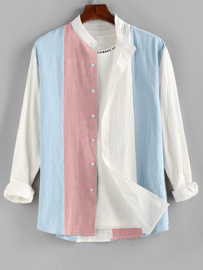 ZAFUL Long Sleeve Contrast Button Up Shirt - Light Pink M