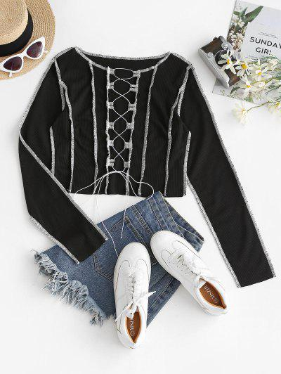 Contrast Stitching Lace Up Ribbed Tee - Jet Black M