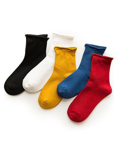 5Pairs Solid Roll Edge Socks Set - Multi
