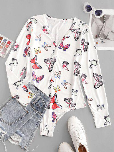 Button Placket Butterfly Print Bodysuit - White S