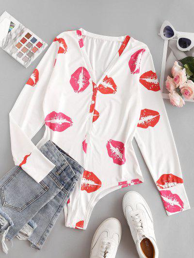 Lips Print Long Sleeve Bodysuit - Red M