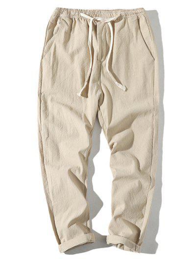 Plain Drawstring Lounge Straight Pants - Khaki M