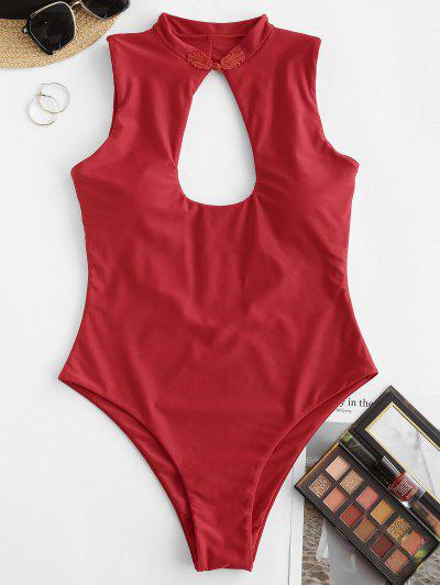 ZAFUL Keyhole Chinoiserie Frog Fastener One-piece Swimsuit - Red L