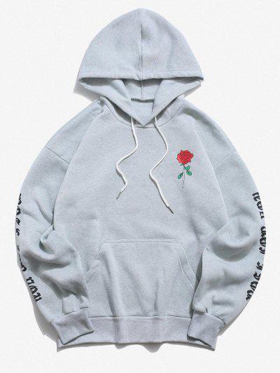 Rose Letter Fleece Kangaroo Pocket Pullover Hoodie - Light Gray M