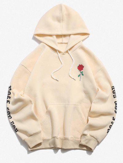 Rose Letter Fleece Kangaroo Pocket Pullover Hoodie - Light Yellow L