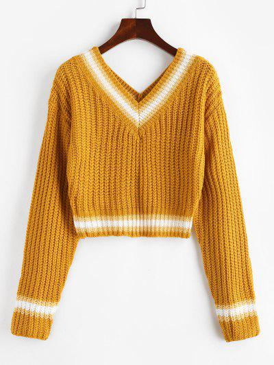 Chunky Striped Detail Cricket Cropped Sweater - Deep Yellow L