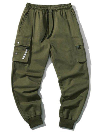 Drawstring Flap Pockets Cargo Jogger Pants - Army Green Xs