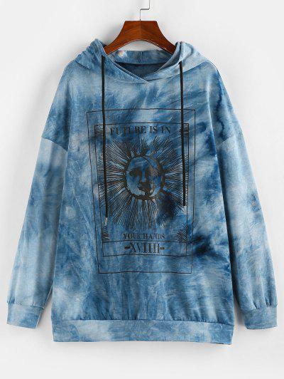 ZAFUL Tie Dye Sun Graphic Hoodie - Blue S