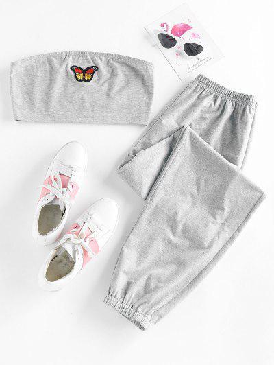 ZAFUL Strapless Butterfly Applique Jogger Pants Set - Light Gray M