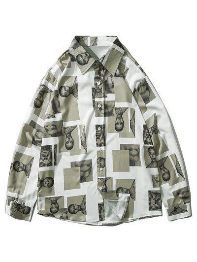 Figure Contrast Patch Long Sleeve Shirt - Multi-c 2xl