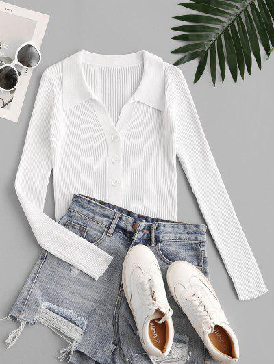Wide Rib Fitted Cardigan - Milk White S