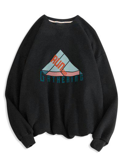 Geometric Run Letter Print Crew Neck Sweatshirt - Black 2xl