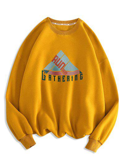 Geometric Run Letter Print Crew Neck Sweatshirt - Orange Gold M