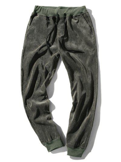 Elastic Waist Solid Beam Feet Corduroy Pants - Army Green Xs