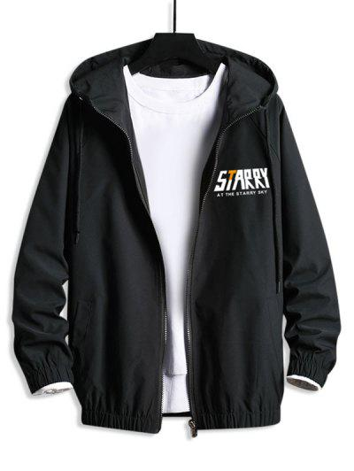 Zip Up Starry Graphic Hooded Blouson Jacket - Black Xl