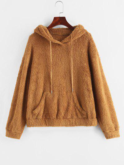 ZAFUL Drawstring Kangaroo Pocket Fuzzy Hoodie - Dark Goldenrod S