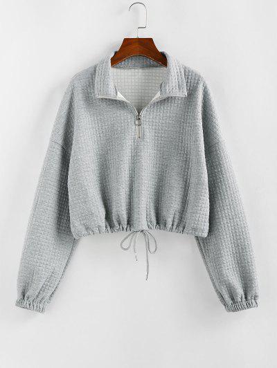 ZAFUL Zipper Drawstring Sweatshirt - Gray Goose S