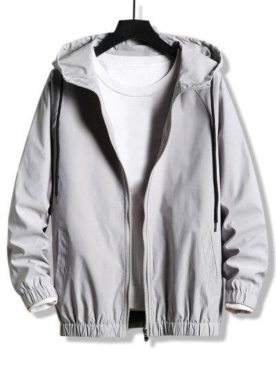 Plain Zip Up Hooded Blouson Jacket - Platinum M