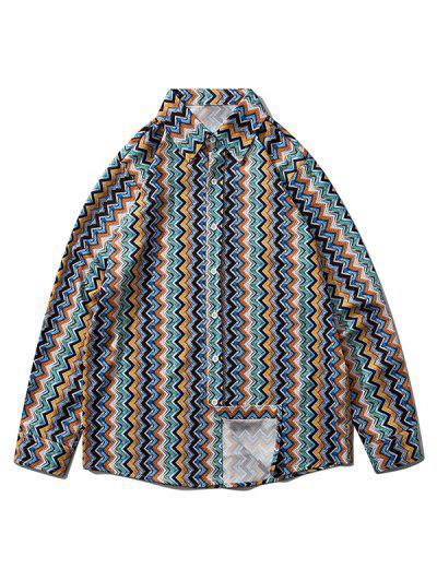 Vertical Zigzag Print Drop Shoulder Lounge Shirt - Navy Blue S