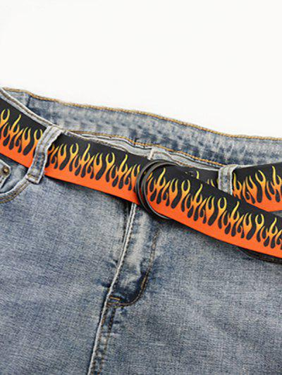 Canvas Flame Print Double Ring Belt - Black