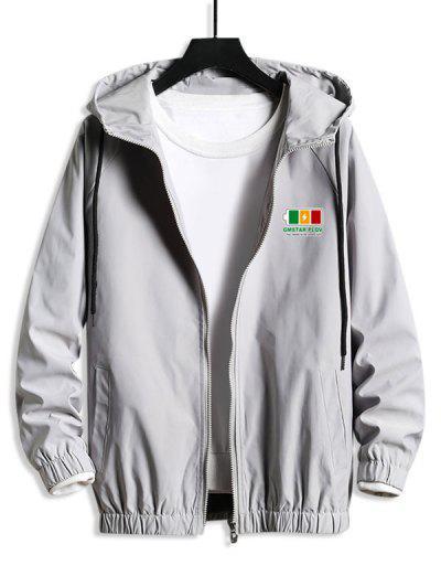 Hooded Raglan Sleeve Charge Sign Print Windbreaker Jacket - Platinum S