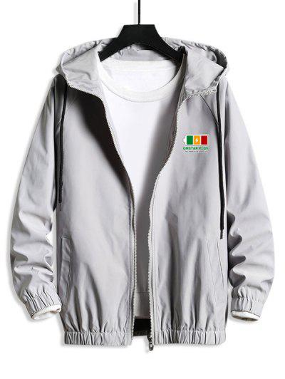 Hooded Raglan Sleeve Charge Sign Print Windbreaker Jacket - Platinum L