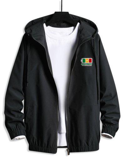 Hooded Raglan Sleeve Charge Sign Print Windbreaker Jacket - Black M