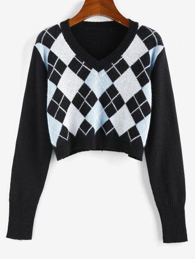 ZAFUL Argyle V Neck Crop Sweater - Black S