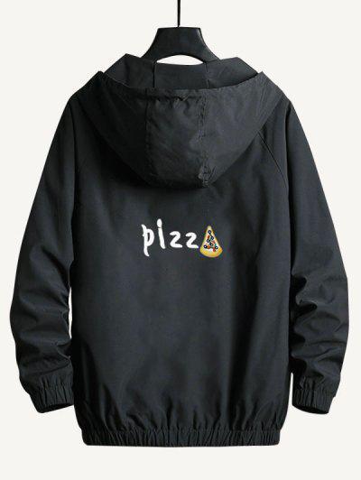 Zip Up Funny Pizza Windbreaker Jacket - Black M