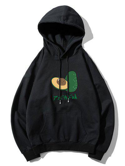 Casual Avocado Graphic Drop Shoulder Hoodie - Black Xl