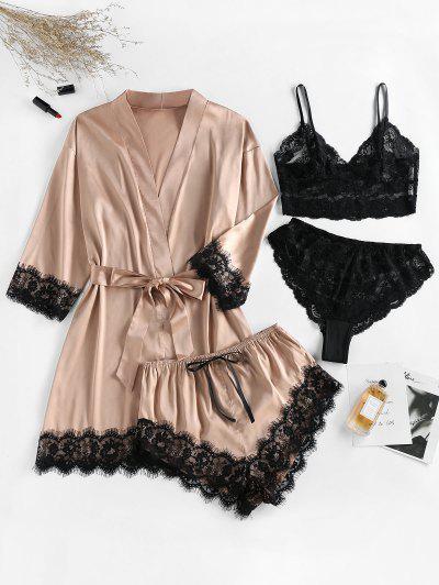 ZAFUL Lace Insert Belted Satin Pajama Robe With Lingerie Set - Khaki Rose M