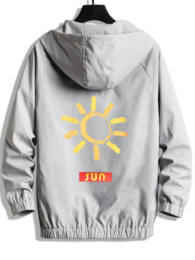 SUN Graphic Zip Up Hooded Jacket - Platinum Xl
