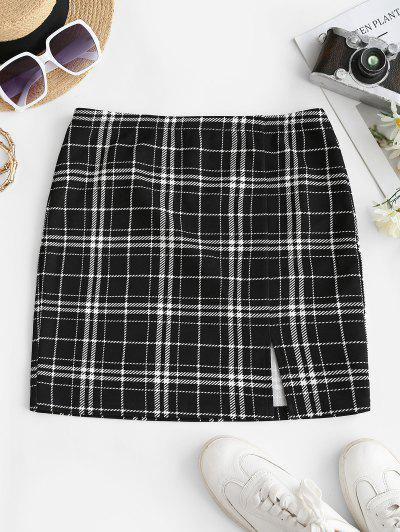 ZAFUL Checked Side Slit Skirt - Black S