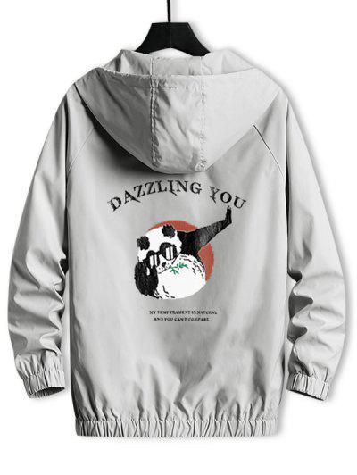 Hooded Windbreaker DAZZLING YOU Panda Jacket - Platinum L