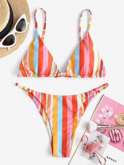 ZAFUL Colorful Stripes High Leg Tanga Bikini Swimwear - Multi M