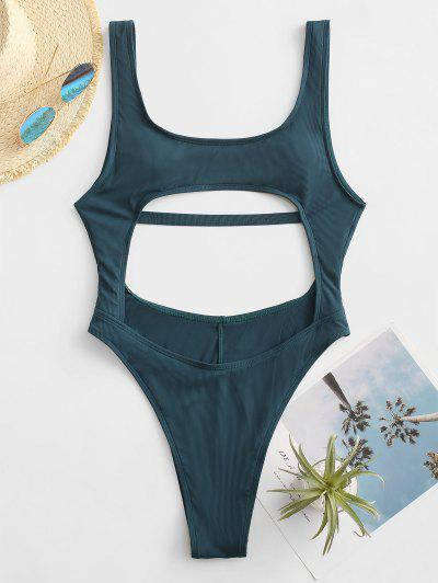 ZAFUL Cut Out Ribbed Backless One-piece Swimsuit - Deep Blue M