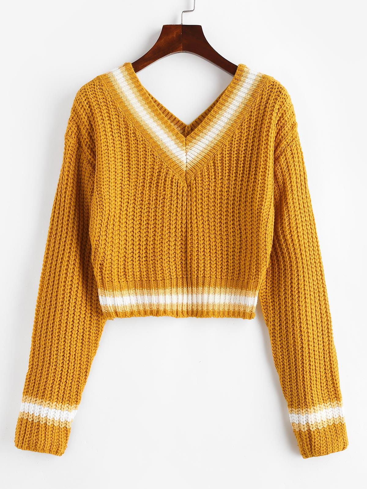 Chunky Striped Detail Cricket Cropped Sweater