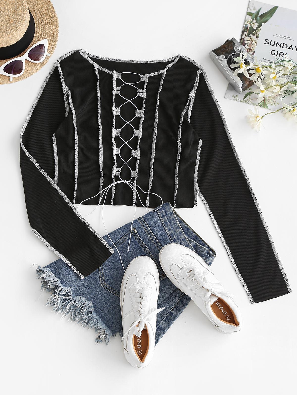 Contrast Stitching Lace Up Ribbed Tee