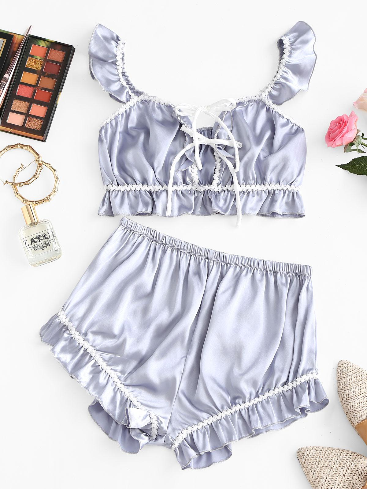 Flounces Tie Front Satin Pajama Set