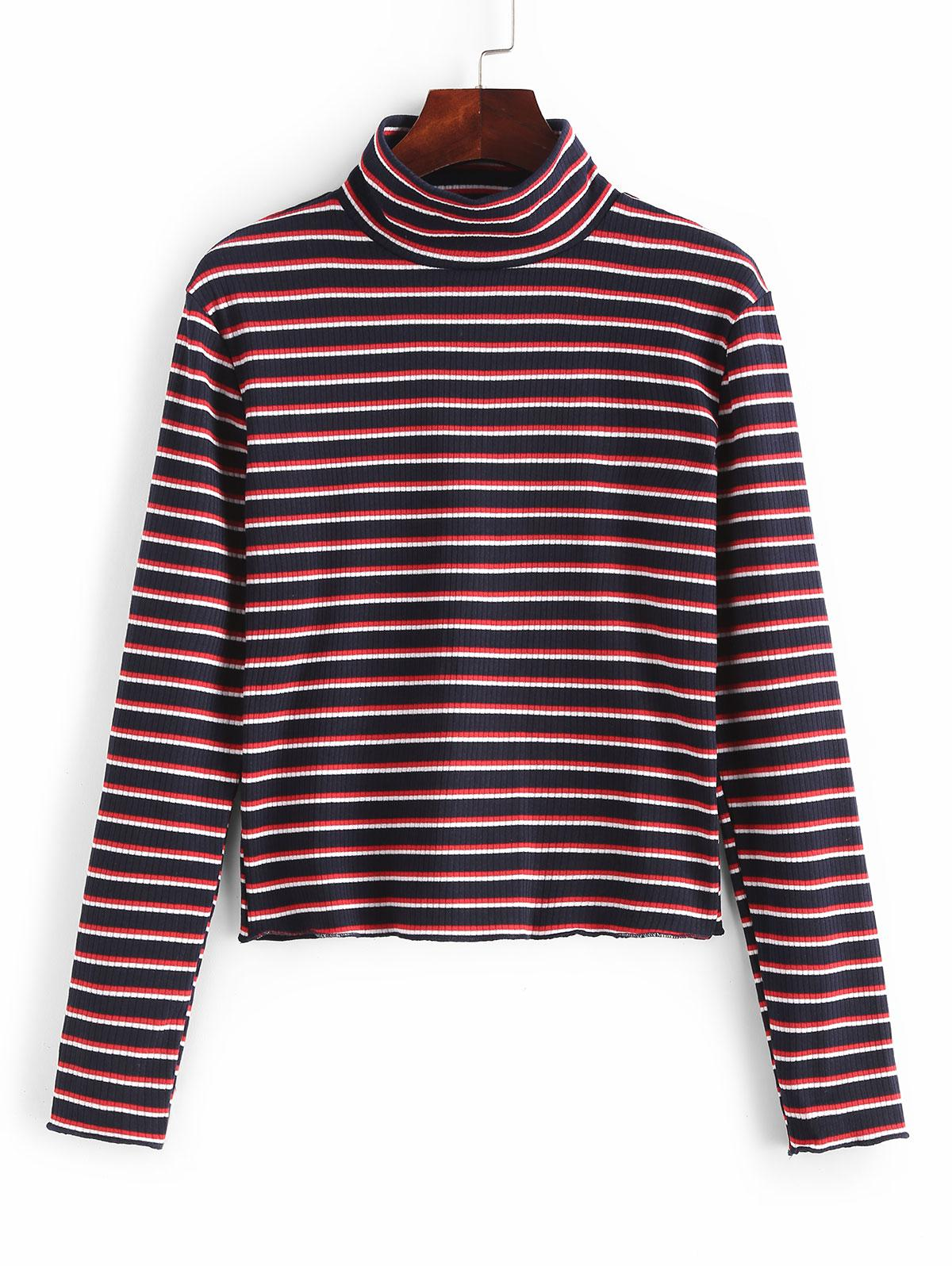 High Neck Striped Ribbed Knit Top