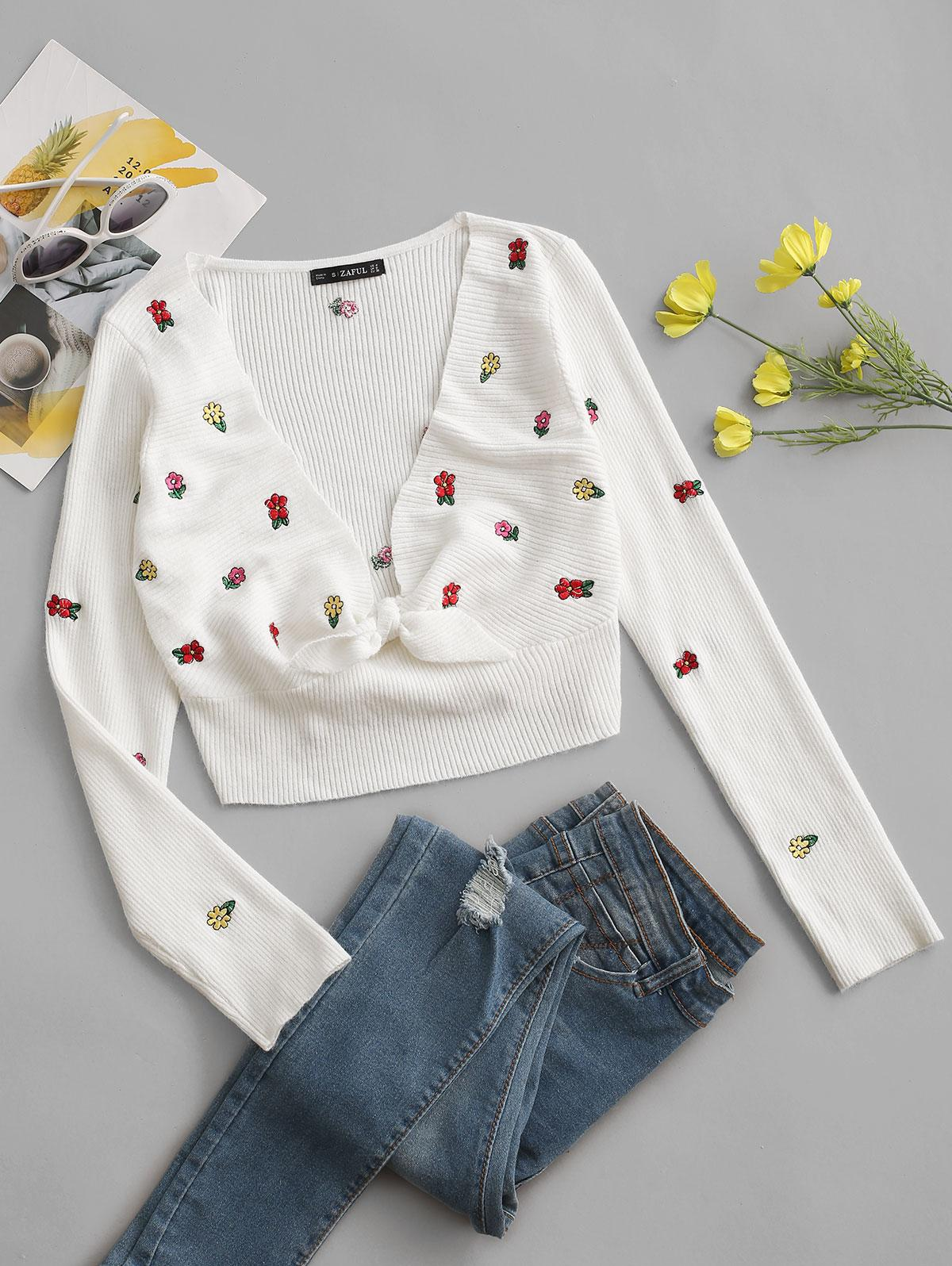 Tiny Floral Embroidered Tie Front Cropped Sweater