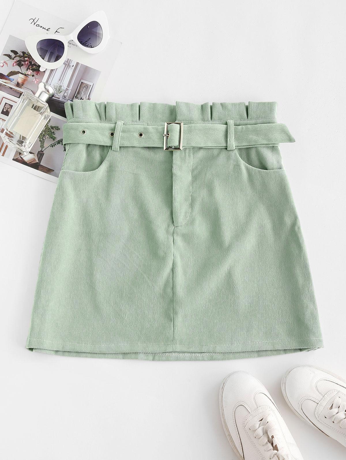 Corduroy Pelmet Paperbag Skirt