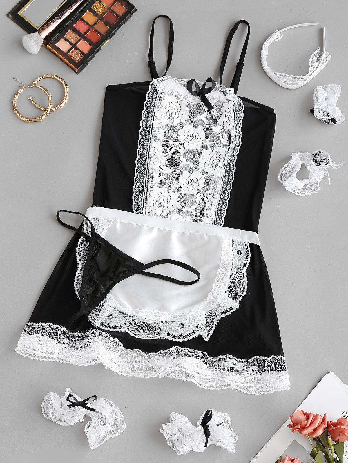 Lace Bowknot Maid Costume Lingerie Set