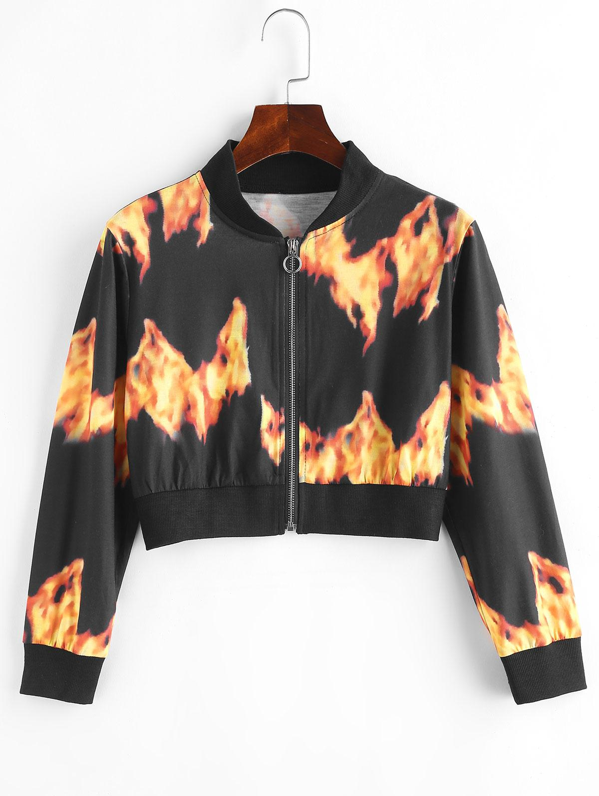 Flame Print Pull Ring Cropped Jacket