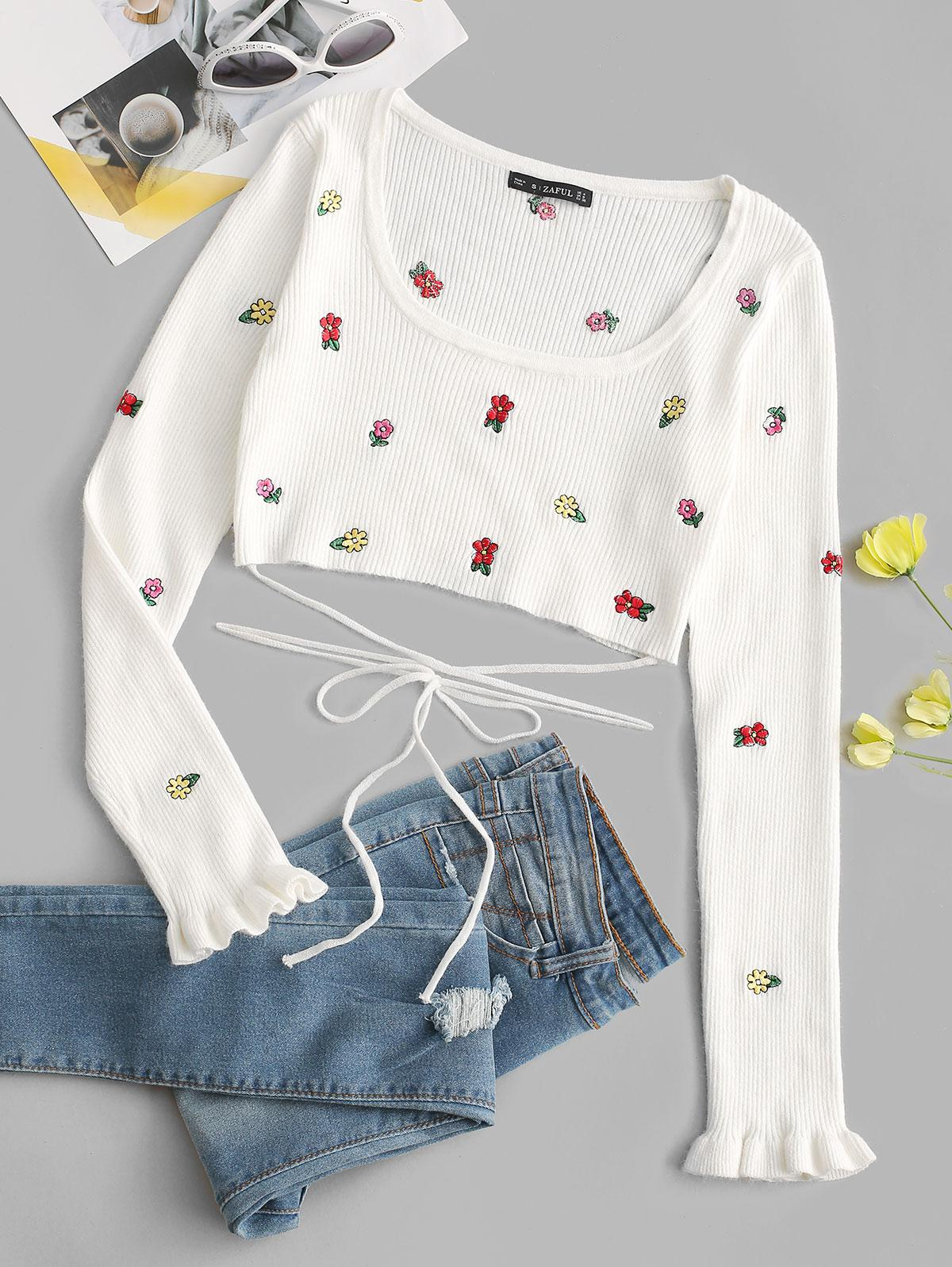 Tie-around Ditsy Floral Embroidered Cropped Sweater