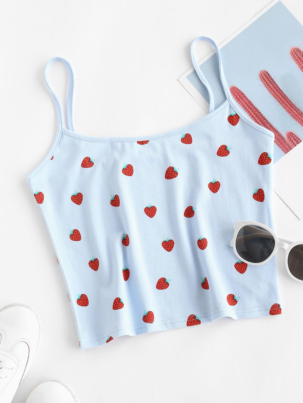 Strawberry Print Cami Top