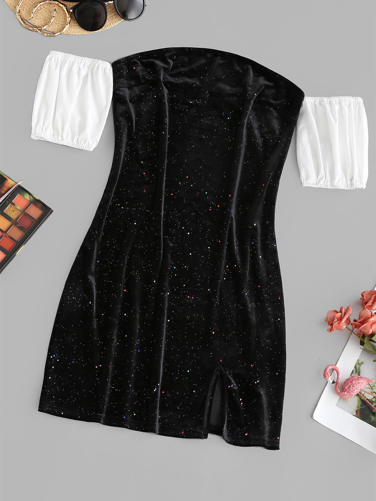 ZAFUL Sparkly Confetti Velvet Off Shoulder Colorblock Dress