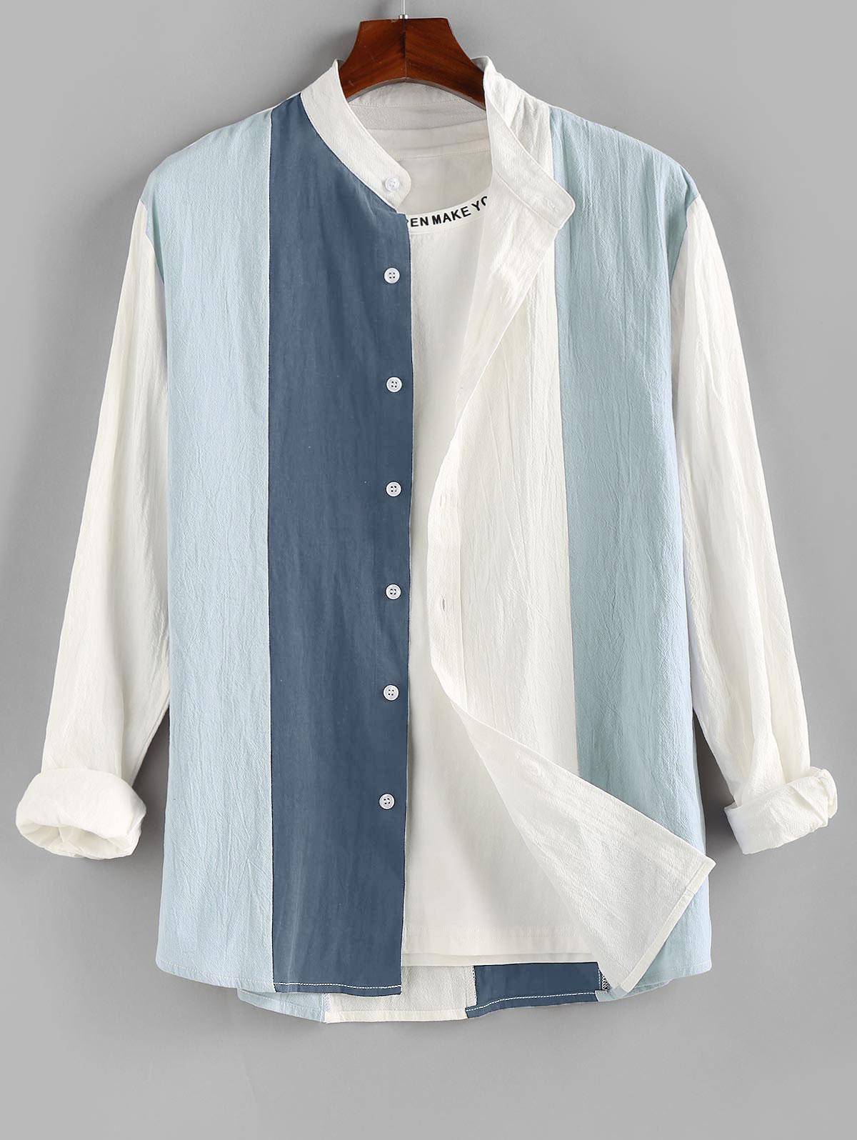 Chemise Boutonnée Contrastée à Manches Longues - ZAFUL - Modalova