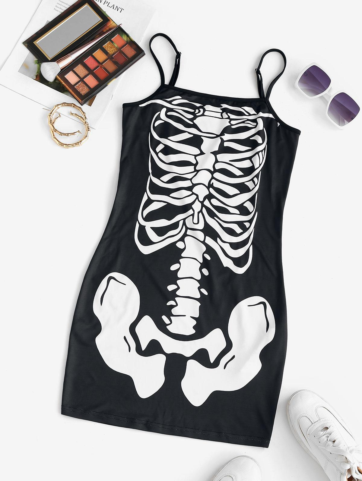 ZAFUL Halloween Skeleton Print Cami Dress