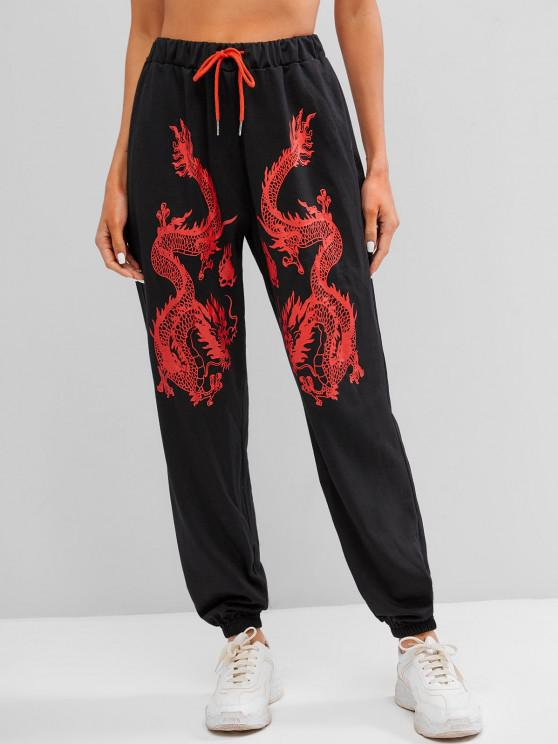 ZAFUL Pantalon de Jogging Dragon Imprimé Chinoiserie - Noir XL